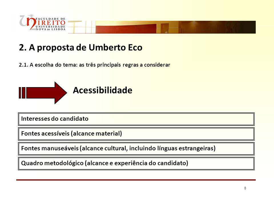 8 2. A proposta de Umberto Eco Interesses do candidato Fontes acessíveis (alcance material) Acessibilidade 2.1. A escolha do tema: as três principais