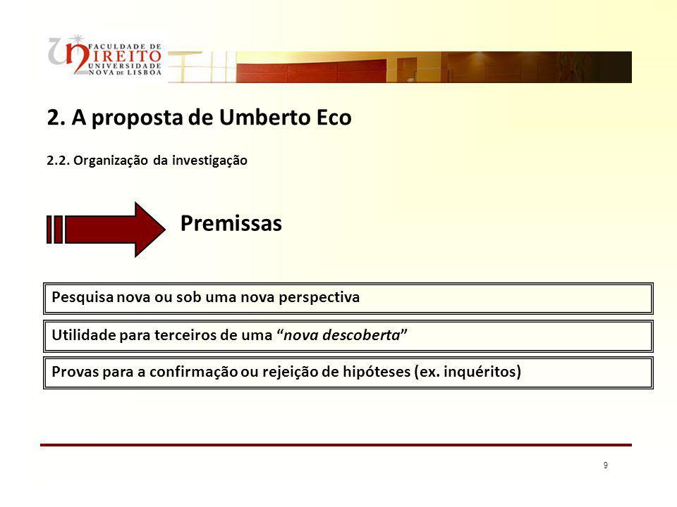 9 2. A proposta de Umberto Eco Pesquisa nova ou sob uma nova perspectiva Utilidade para terceiros de uma nova descoberta Premissas 2.2. Organização da