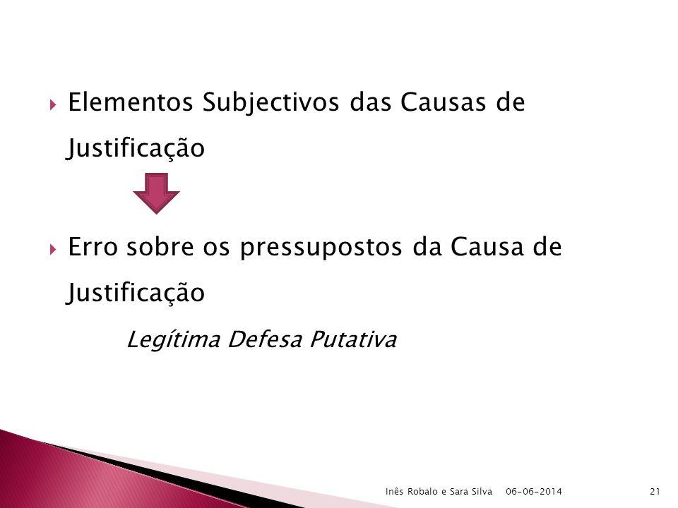 Elementos Subjectivos das Causas de Justificação Erro sobre os pressupostos da Causa de Justificação Legítima Defesa Putativa 06-06-2014Inês Robalo e Sara Silva21