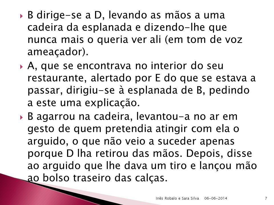 a) Agressão ilícita, actual e não provocada b) Impossibilidade de recurso à força pública Necessidade racional do meio empregado 06-06-2014Inês Robalo e Sara Silva18