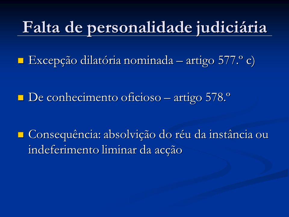 Falta de personalidade judiciária Excepção dilatória nominada – artigo 577.º c) Excepção dilatória nominada – artigo 577.º c) De conhecimento oficioso