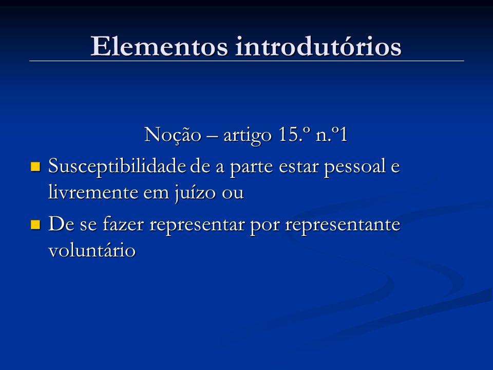 Elementos introdutórios Noção – artigo 15.º n.º1 Susceptibilidade de a parte estar pessoal e livremente em juízo ou Susceptibilidade de a parte estar pessoal e livremente em juízo ou De se fazer representar por representante voluntário De se fazer representar por representante voluntário