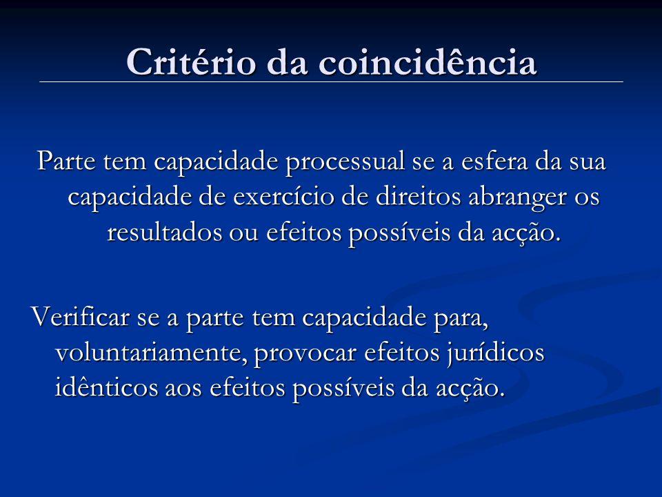 Critério da coincidência Parte tem capacidade processual se a esfera da sua capacidade de exercício de direitos abranger os resultados ou efeitos poss