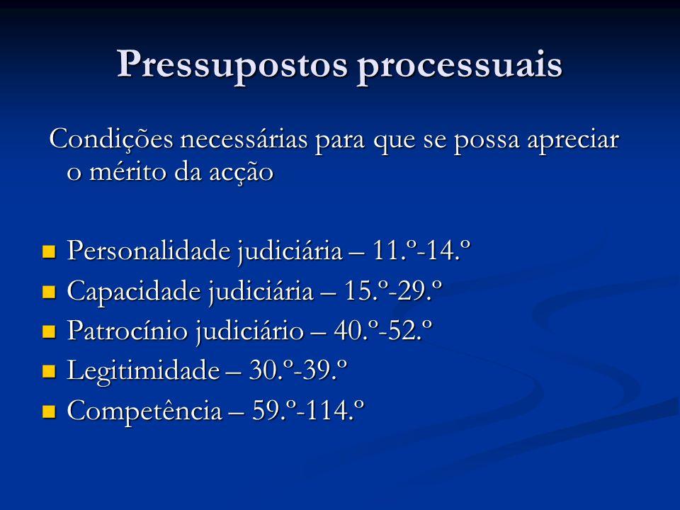 Condições necessárias para que se possa apreciar o mérito da acção Condições necessárias para que se possa apreciar o mérito da acção Personalidade judiciária – 11.º-14.º Personalidade judiciária – 11.º-14.º Capacidade judiciária – 15.º-29.º Capacidade judiciária – 15.º-29.º Patrocínio judiciário – 40.º-52.º Patrocínio judiciário – 40.º-52.º Legitimidade – 30.º-39.º Legitimidade – 30.º-39.º Competência – 59.º-114.º Competência – 59.º-114.º