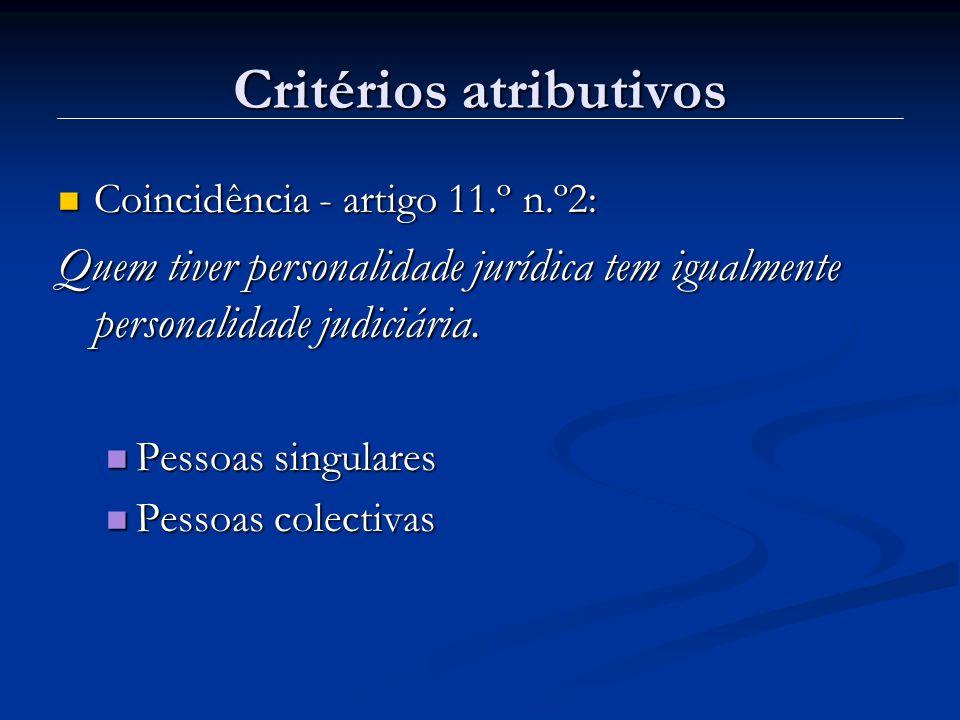 Critérios atributivos Coincidência - artigo 11.º n.º2: Coincidência - artigo 11.º n.º2: Quem tiver personalidade jurídica tem igualmente personalidade judiciária.
