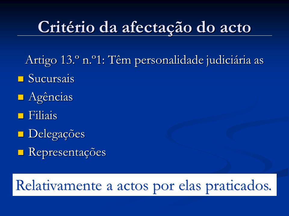 Critério da afectação do acto Artigo 13.º n.º1: Têm personalidade judiciária as Sucursais Sucursais Agências Agências Filiais Filiais Delegações Delegações Representações Representações Relativamente a actos por elas praticados.