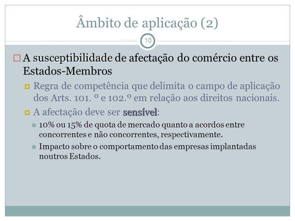 Âmbito de aplicação (2) 10 susceptibilidade A susceptibilidade de afectação do comércio entre os Estados-Membros Regra de competência que delimita o c