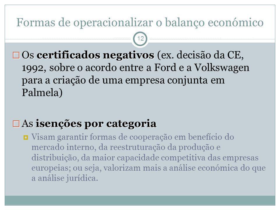Formas de operacionalizar o balanço económico 12 Os certificados negativos Os certificados negativos (ex. decisão da CE, 1992, sobre o acordo entre a