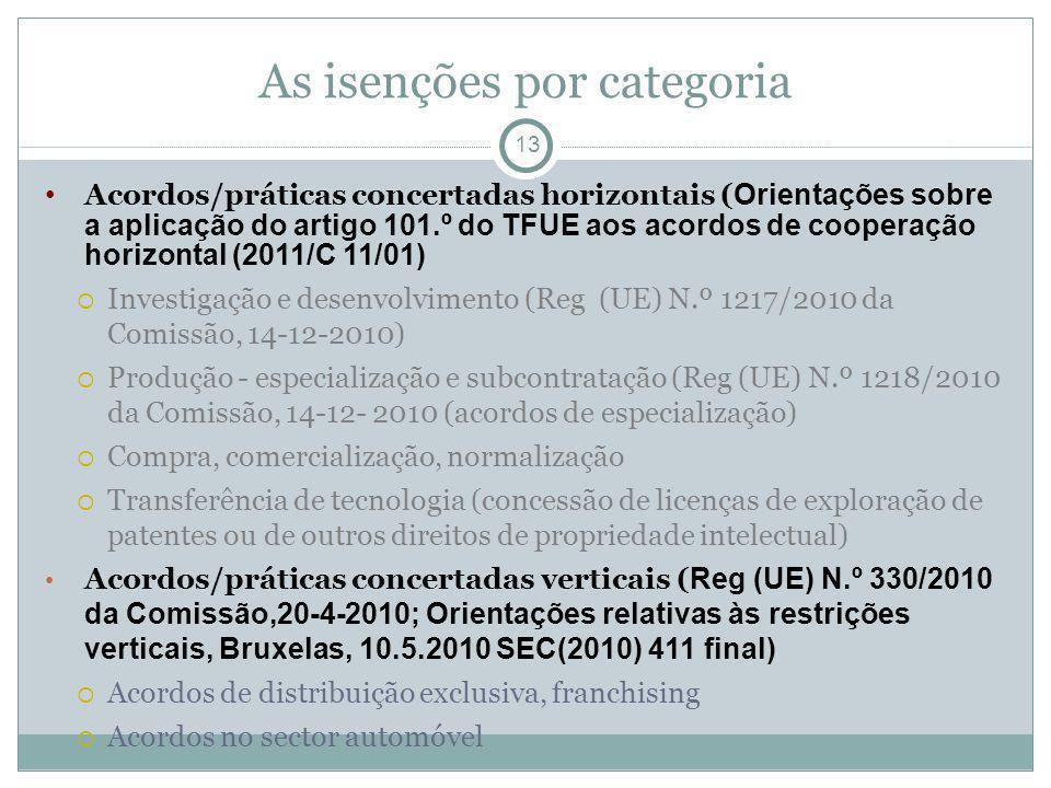 As isenções por categoria 13 Acordos/práticas concertadas horizontais ( Orientações sobre a aplicação do artigo 101.º do TFUE aos acordos de cooperação horizontal (2011/C 11/01) Investigação e desenvolvimento (Reg (UE) N.º 1217/2010 da Comissão, 14-12-2010) Produção - especialização e subcontratação (Reg (UE) N.º 1218/2010 da Comissão, 14-12- 2010 (acordos de especialização) Compra, comercialização, normalização Transferência de tecnologia (concessão de licenças de exploração de patentes ou de outros direitos de propriedade intelectual) Acordos/práticas concertadas verticais ( Reg (UE) N.º 330/2010 da Comissão,20-4-2010; Orientações relativas às restrições verticais, Bruxelas, 10.5.2010 SEC(2010) 411 final) Acordos de distribuição exclusiva, franchising Acordos no sector automóvel