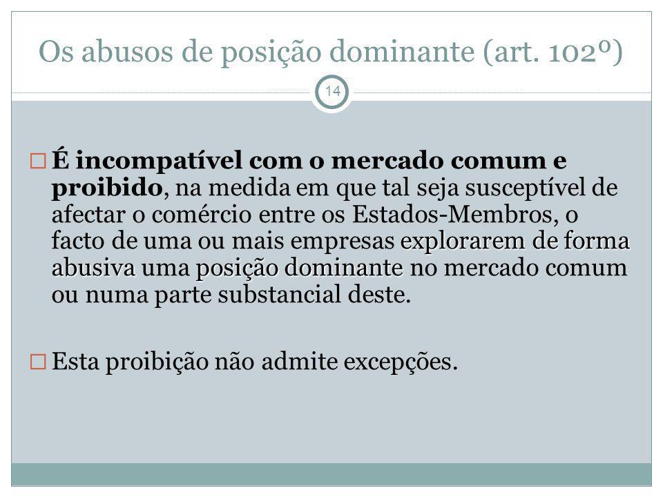 Os abusos de posição dominante (art. 102º) 14 explorarem de forma abusiva posição dominante É incompatível com o mercado comum e proibido, na medida e