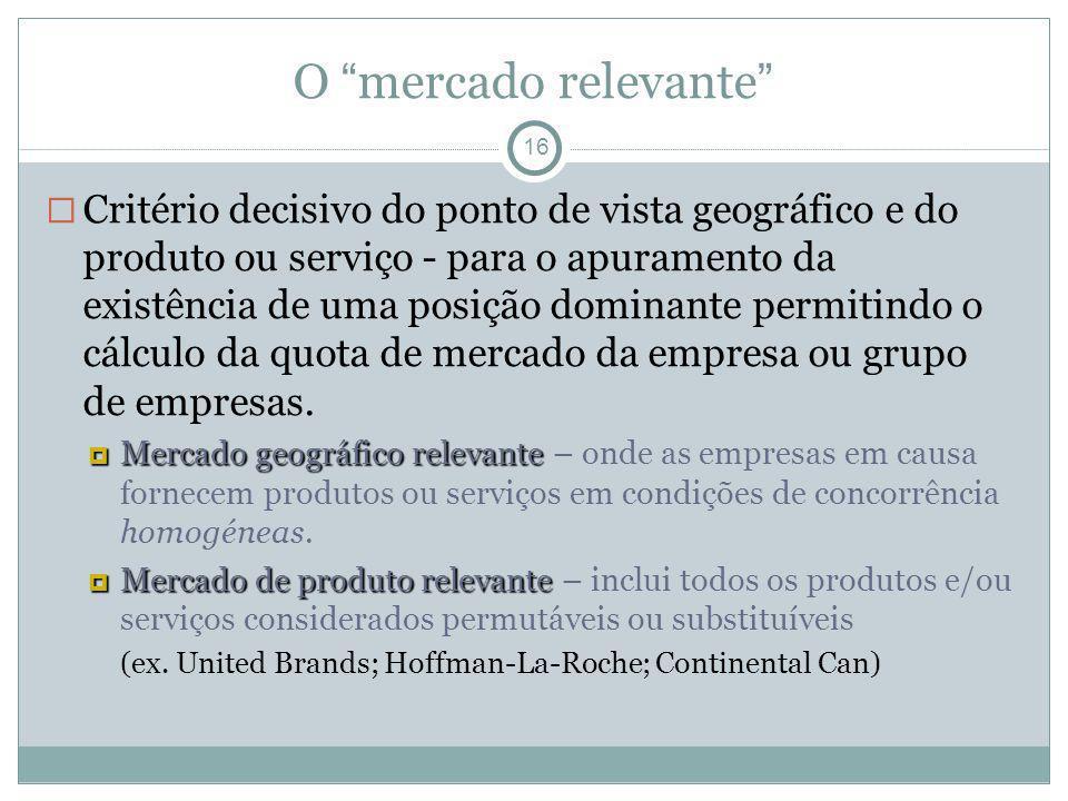 O mercado relevante 16 Critério decisivo do ponto de vista geográfico e do produto ou serviço - para o apuramento da existência de uma posição dominan