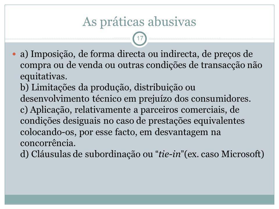 As práticas abusivas 17 a) Imposição, de forma directa ou indirecta, de preços de compra ou de venda ou outras condições de transacção não equitativas.