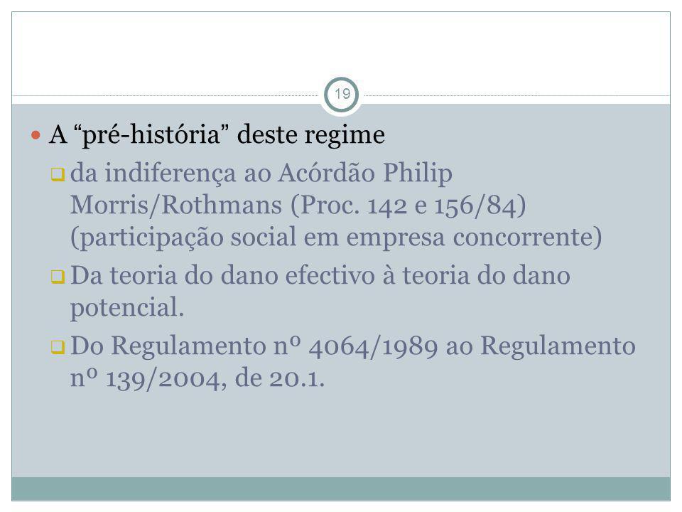 19 A pré-história deste regime da indiferença ao Acórdão Philip Morris/Rothmans (Proc. 142 e 156/84) (participação social em empresa concorrente) Da t