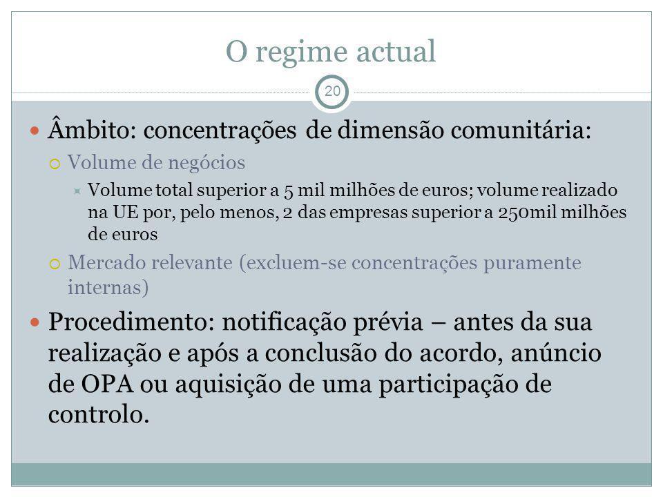 O regime actual 20 Âmbito: concentrações de dimensão comunitária: Volume de negócios Volume total superior a 5 mil milhões de euros; volume realizado