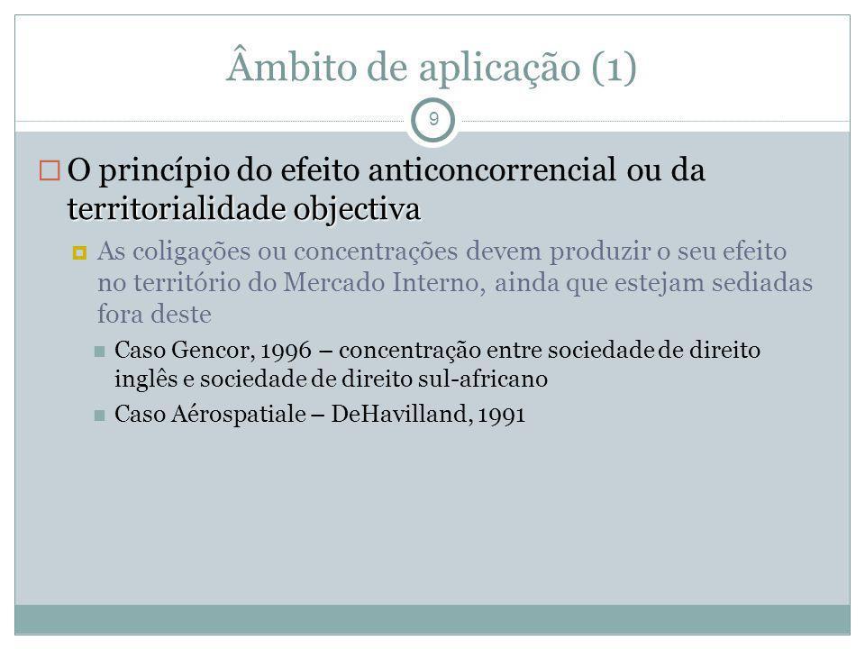 Âmbito de aplicação (1) 9 territorialidade objectiva O princípio do efeito anticoncorrencial ou da territorialidade objectiva As coligações ou concent