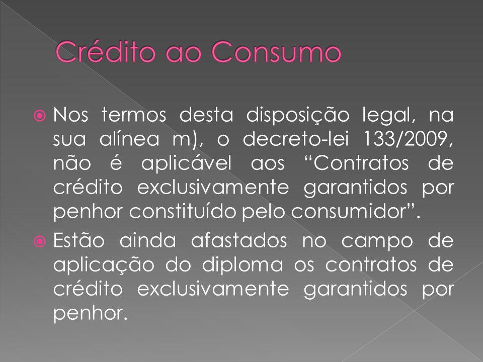 Nos termos desta disposição legal, na sua alínea m), o decreto-lei 133/2009, não é aplicável aos Contratos de crédito exclusivamente garantidos por pe