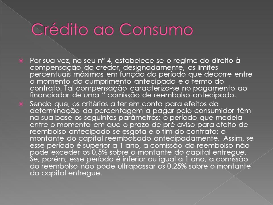 Por sua vez, no seu nº 4, estabelece-se o regime do direito à compensação do credor, designadamente, os limites percentuais máximos em função do perío