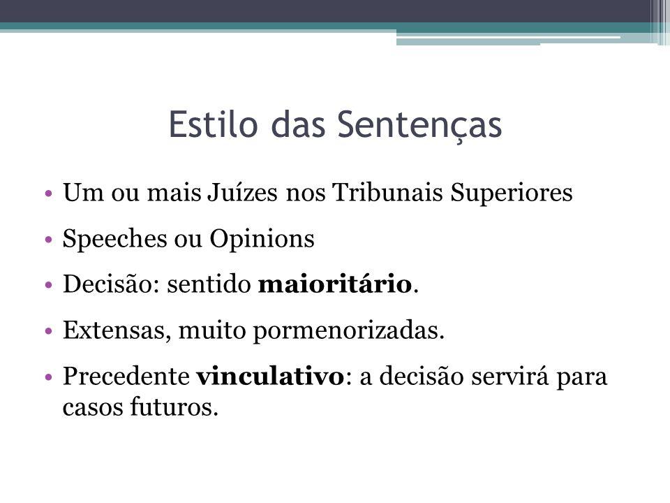 Estilo das Sentenças Um ou mais Juízes nos Tribunais Superiores Speeches ou Opinions Decisão: sentido maioritário.