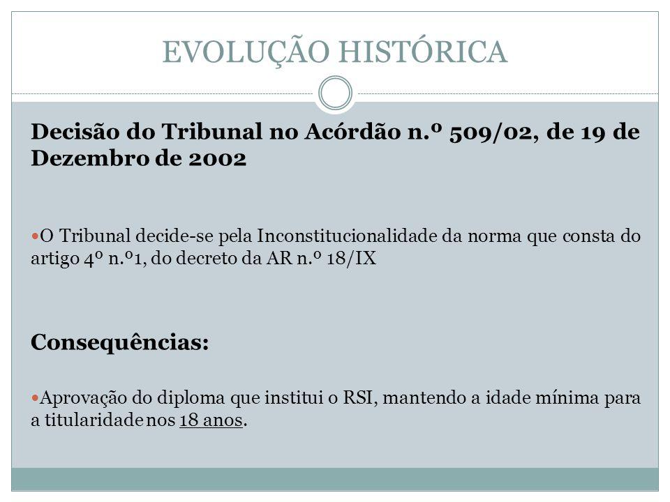 EVOLUÇÃO HISTÓRICA Decisão do Tribunal no Acórdão n.º 509/02, de 19 de Dezembro de 2002 O Tribunal decide-se pela Inconstitucionalidade da norma que c
