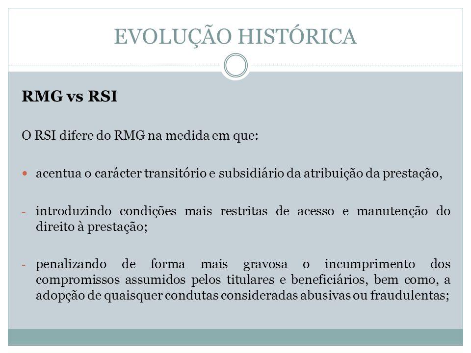 EVOLUÇÃO HISTÓRICA RMG vs RSI O RSI difere do RMG na medida em que: acentua o carácter transitório e subsidiário da atribuição da prestação, - introdu
