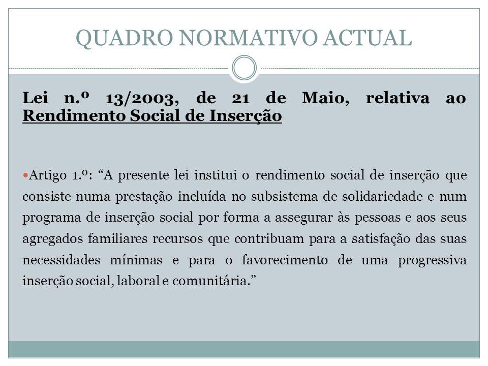 QUADRO NORMATIVO ACTUAL Lei n.º 13/2003, de 21 de Maio, relativa ao Rendimento Social de Inserção Artigo 1.º: A presente lei institui o rendimento soc