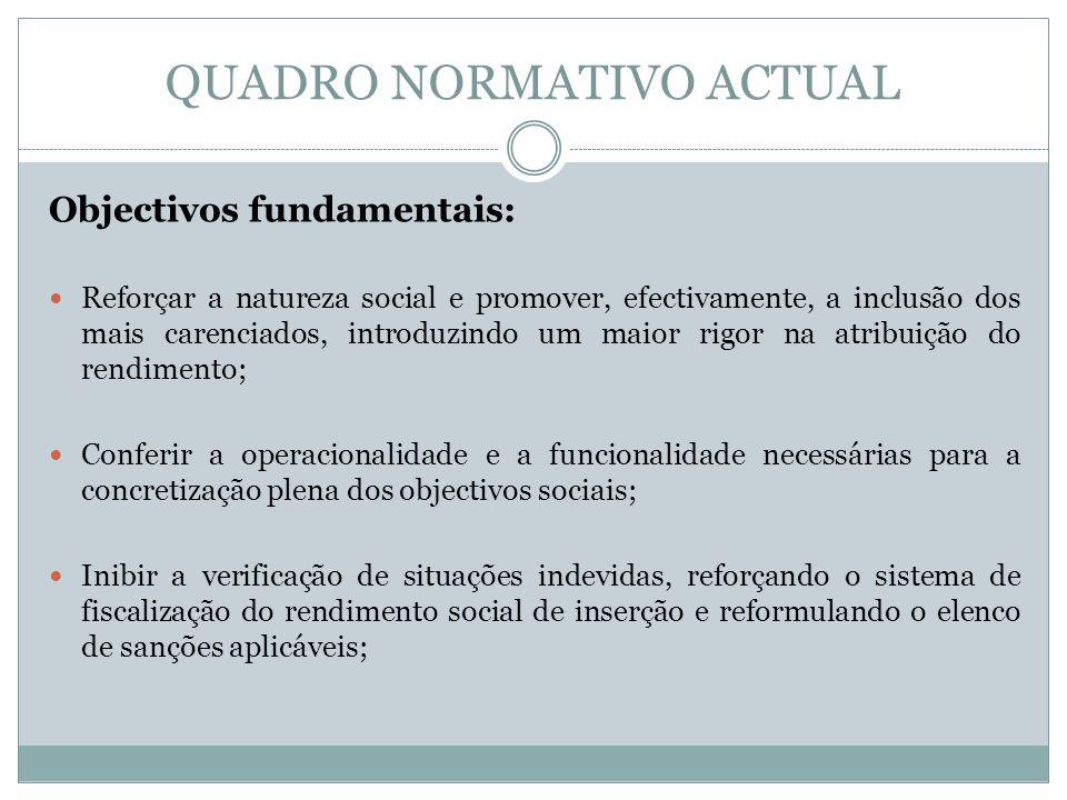 QUADRO NORMATIVO ACTUAL Objectivos fundamentais: Reforçar a natureza social e promover, efectivamente, a inclusão dos mais carenciados, introduzindo u