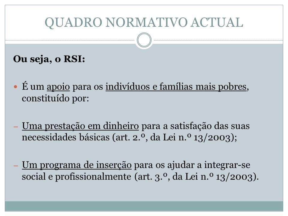 QUADRO NORMATIVO ACTUAL Ou seja, o RSI: É um apoio para os indivíduos e famílias mais pobres, constituído por: – Uma prestação em dinheiro para a satisfação das suas necessidades básicas (art.