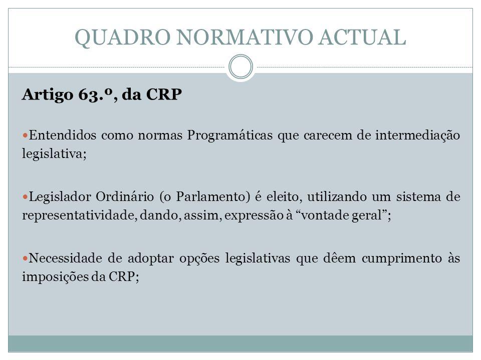 QUADRO NORMATIVO ACTUAL Artigo 63.º, da CRP Entendidos como normas Programáticas que carecem de intermediação legislativa; Legislador Ordinário (o Par