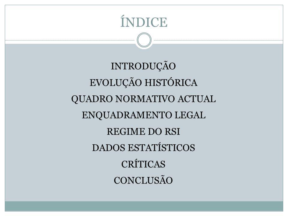 ÍNDICE INTRODUÇÃO EVOLUÇÃO HISTÓRICA QUADRO NORMATIVO ACTUAL ENQUADRAMENTO LEGAL REGIME DO RSI DADOS ESTATÍSTICOS CRÍTICAS CONCLUSÃO