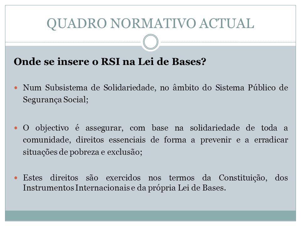 QUADRO NORMATIVO ACTUAL Onde se insere o RSI na Lei de Bases? Num Subsistema de Solidariedade, no âmbito do Sistema Público de Segurança Social; O obj