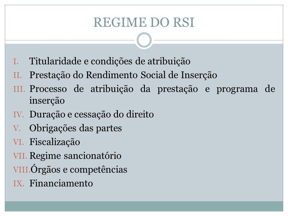 REGIME DO RSI I. Titularidade e condições de atribuição II. Prestação do Rendimento Social de Inserção III. Processo de atribuição da prestação e prog