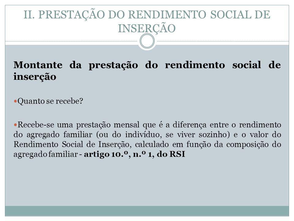 II. PRESTAÇÃO DO RENDIMENTO SOCIAL DE INSERÇÃO Montante da prestação do rendimento social de inserção Quanto se recebe? Recebe-se uma prestação mensal
