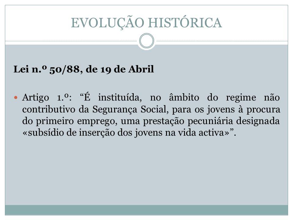 EVOLUÇÃO HISTÓRICA Lei n.º 50/88, de 19 de Abril Artigo 1.º: É instituída, no âmbito do regime não contributivo da Segurança Social, para os jovens à