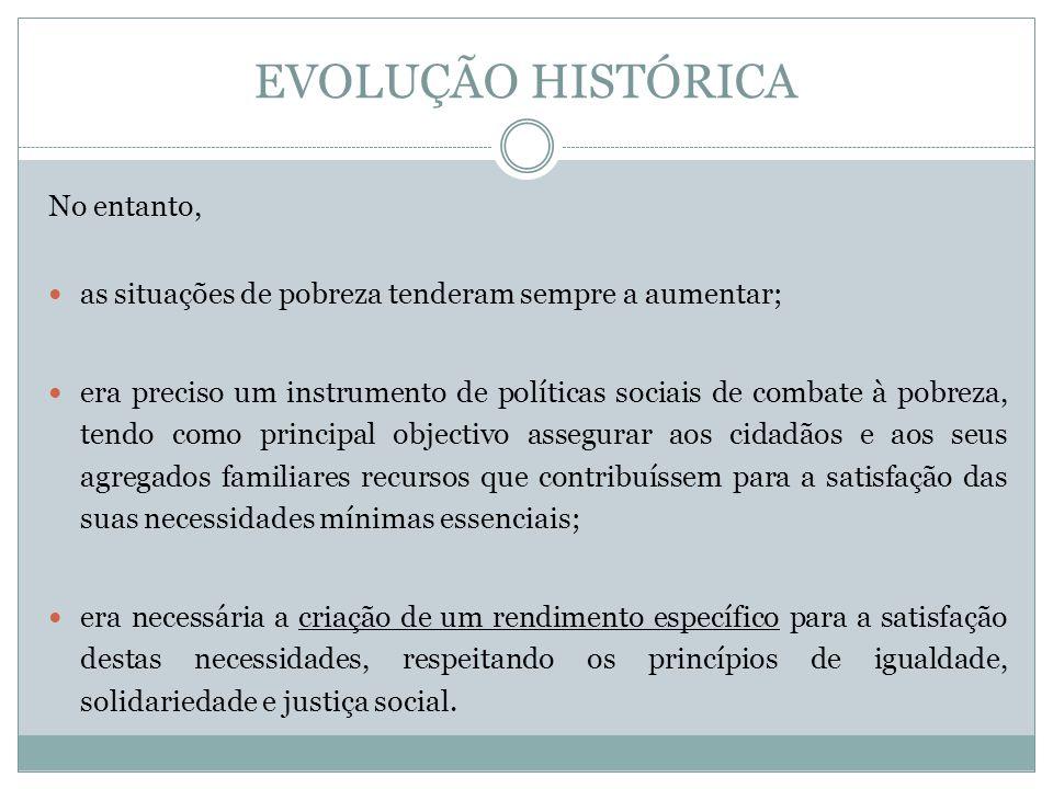 EVOLUÇÃO HISTÓRICA No entanto, as situações de pobreza tenderam sempre a aumentar; era preciso um instrumento de políticas sociais de combate à pobrez