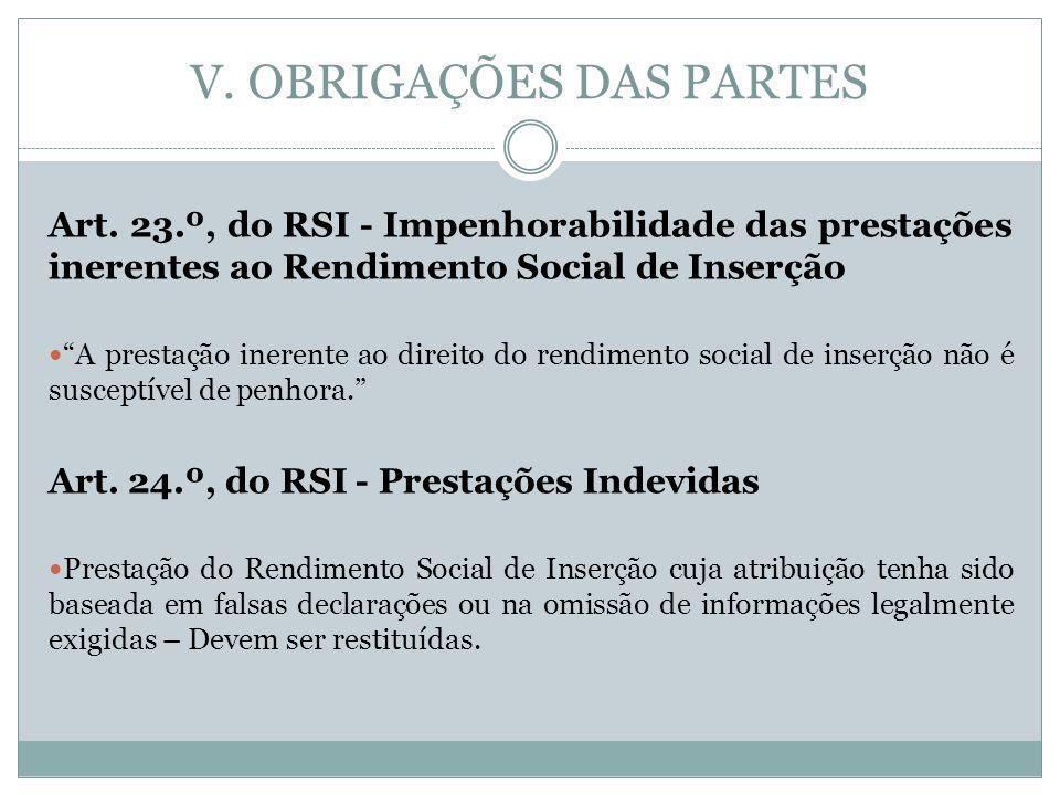 V. OBRIGAÇÕES DAS PARTES Art. 23.º, do RSI - Impenhorabilidade das prestações inerentes ao Rendimento Social de Inserção A prestação inerente ao direi