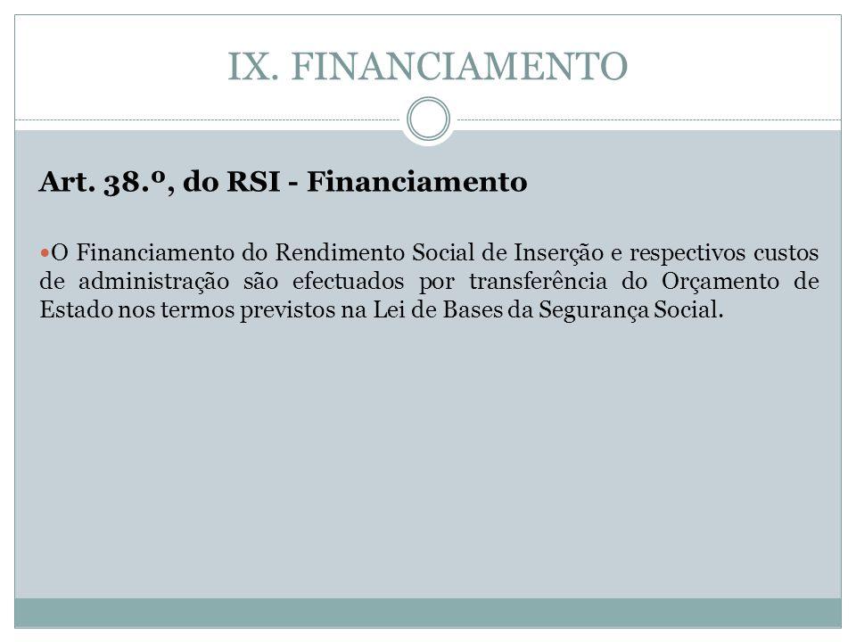 IX. FINANCIAMENTO Art. 38.º, do RSI - Financiamento O Financiamento do Rendimento Social de Inserção e respectivos custos de administração são efectua