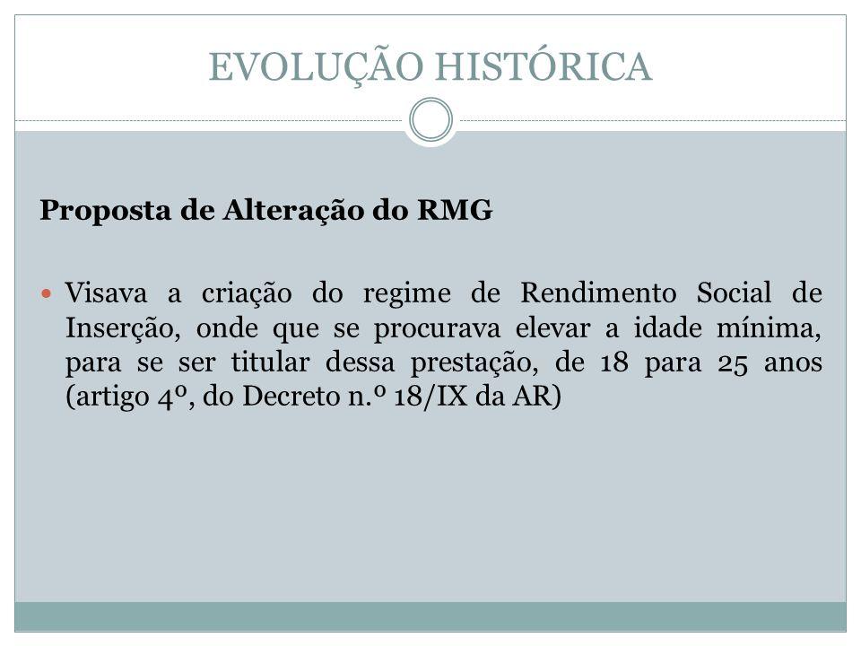 EVOLUÇÃO HISTÓRICA Proposta de Alteração do RMG Visava a criação do regime de Rendimento Social de Inserção, onde que se procurava elevar a idade mínima, para se ser titular dessa prestação, de 18 para 25 anos (artigo 4º, do Decreto n.º 18/IX da AR)