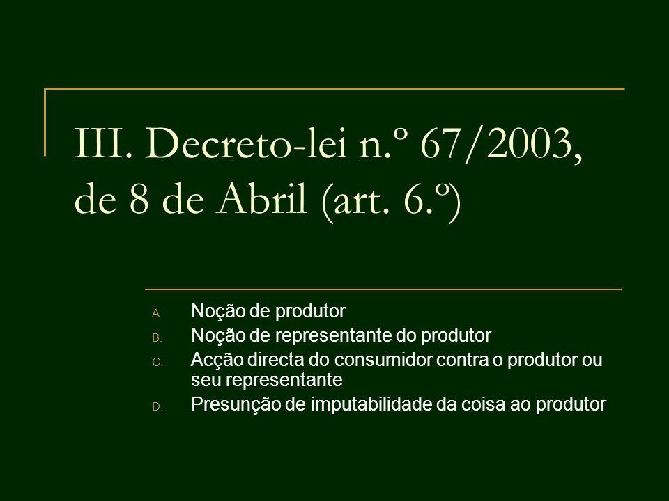 III. Decreto-lei n.º 67/2003, de 8 de Abril (art. 6.º) A. Noção de produtor B. Noção de representante do produtor C. Acção directa do consumidor contr