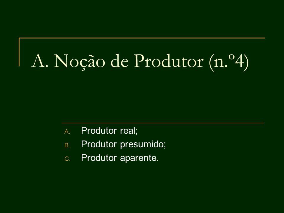 A. Noção de Produtor (n.º4) A. Produtor real; B. Produtor presumido; C. Produtor aparente.