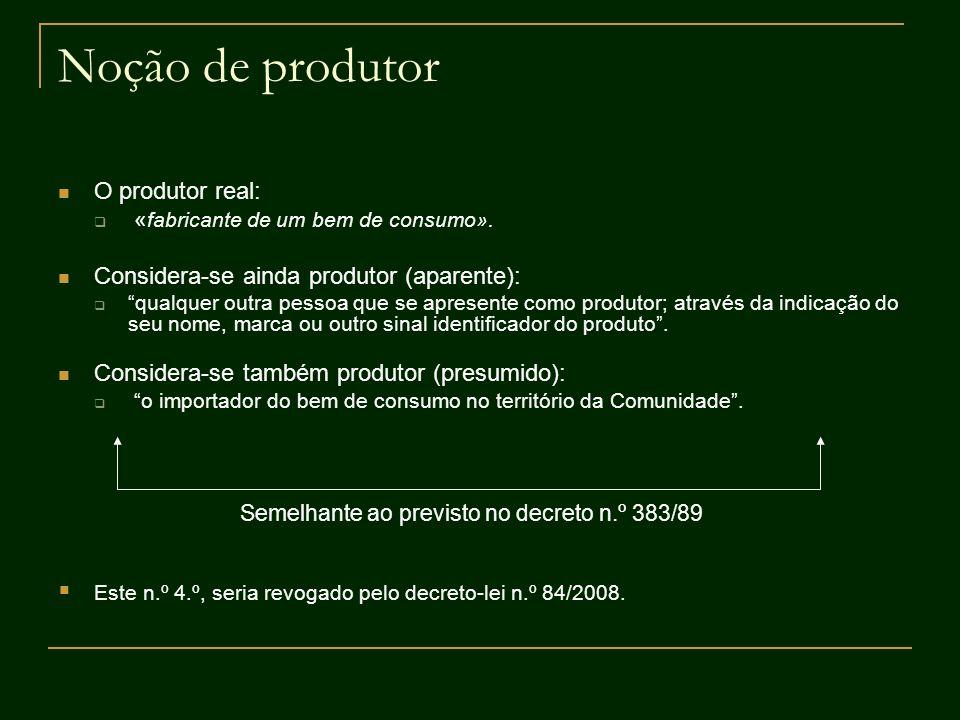Noção de produtor O produtor real: « fabricante de um bem de consumo». Considera-se ainda produtor (aparente): qualquer outra pessoa que se apresente