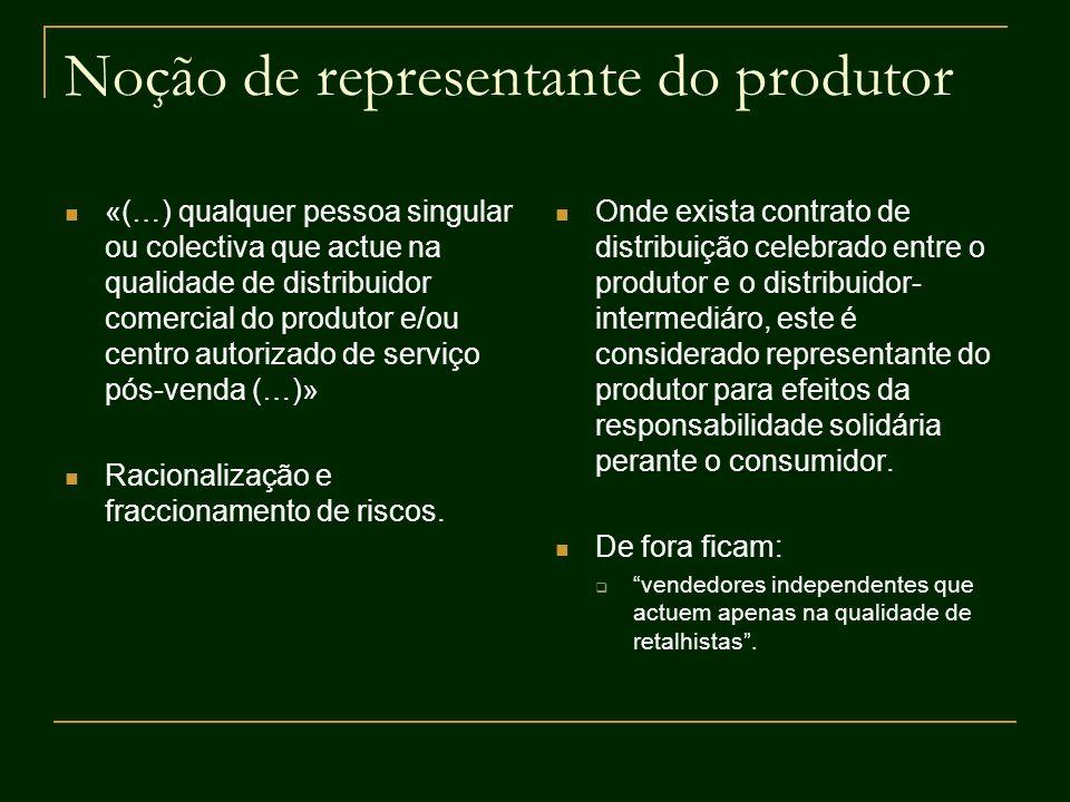 Noção de representante do produtor «(…) qualquer pessoa singular ou colectiva que actue na qualidade de distribuidor comercial do produtor e/ou centro