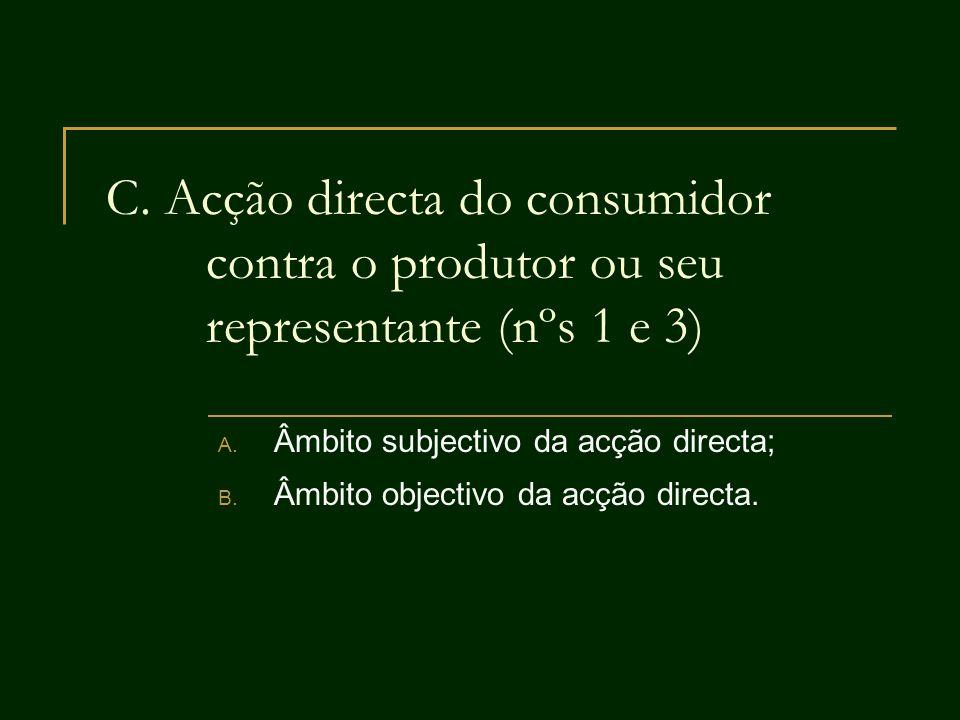 C. Acção directa do consumidor contra o produtor ou seu representante (nºs 1 e 3) A. Âmbito subjectivo da acção directa; B. Âmbito objectivo da acção