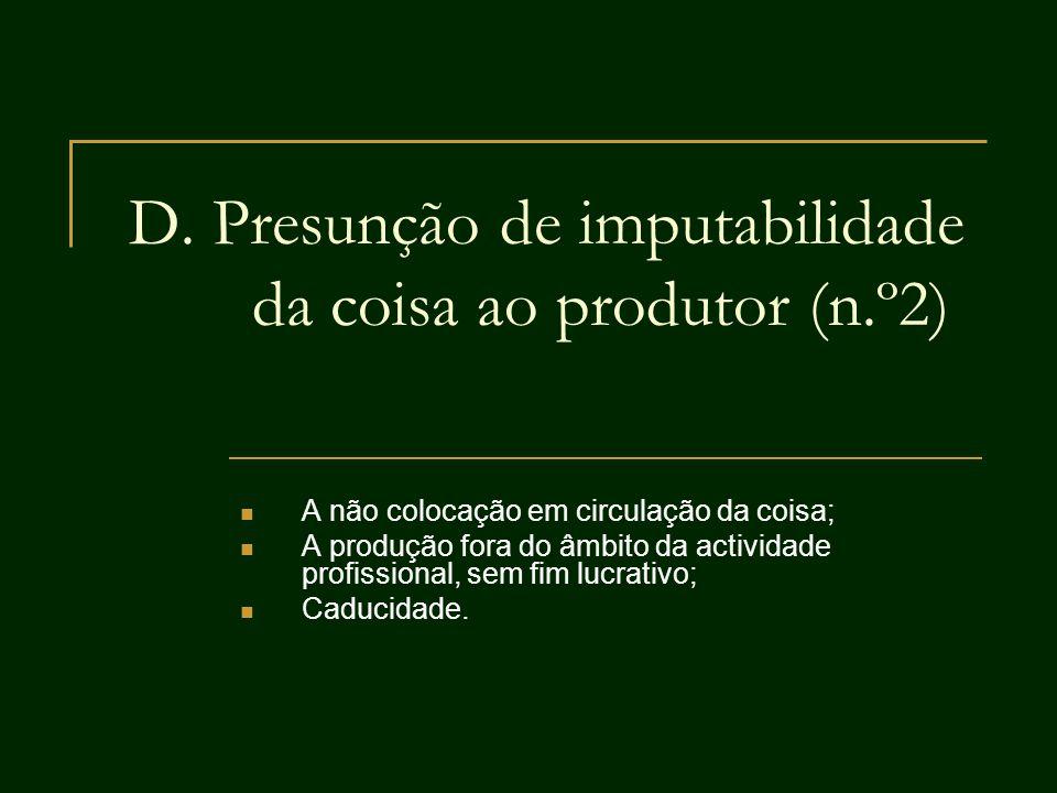 D. Presunção de imputabilidade da coisa ao produtor (n.º2) A não colocação em circulação da coisa; A produção fora do âmbito da actividade profissiona