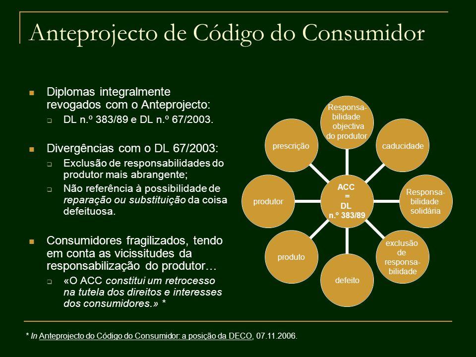 Anteprojecto de Código do Consumidor Diplomas integralmente revogados com o Anteprojecto: DL n.º 383/89 e DL n.º 67/2003. Divergências com o DL 67/200