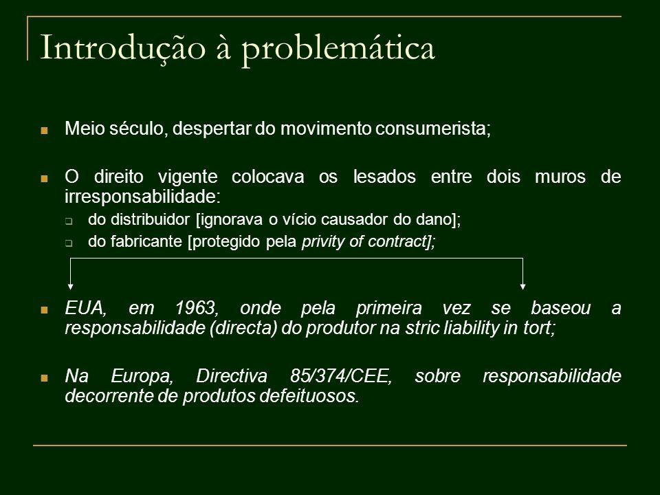 Introdução à problemática Meio século, despertar do movimento consumerista; O direito vigente colocava os lesados entre dois muros de irresponsabilida