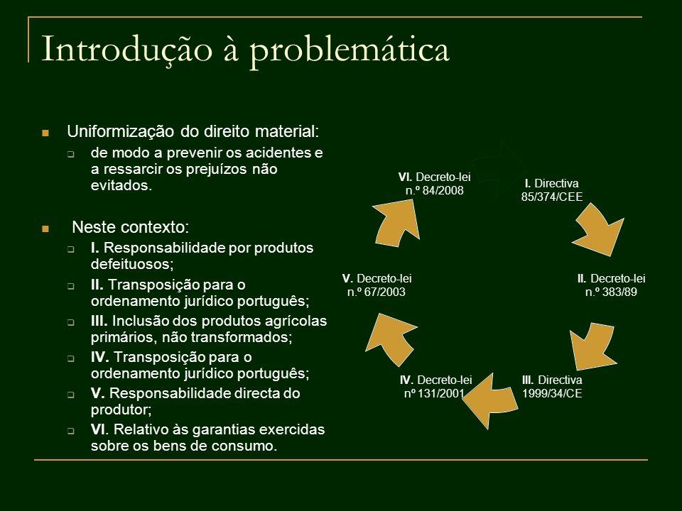 Introdução à problemática Uniformização do direito material: de modo a prevenir os acidentes e a ressarcir os prejuízos não evitados. Neste contexto: