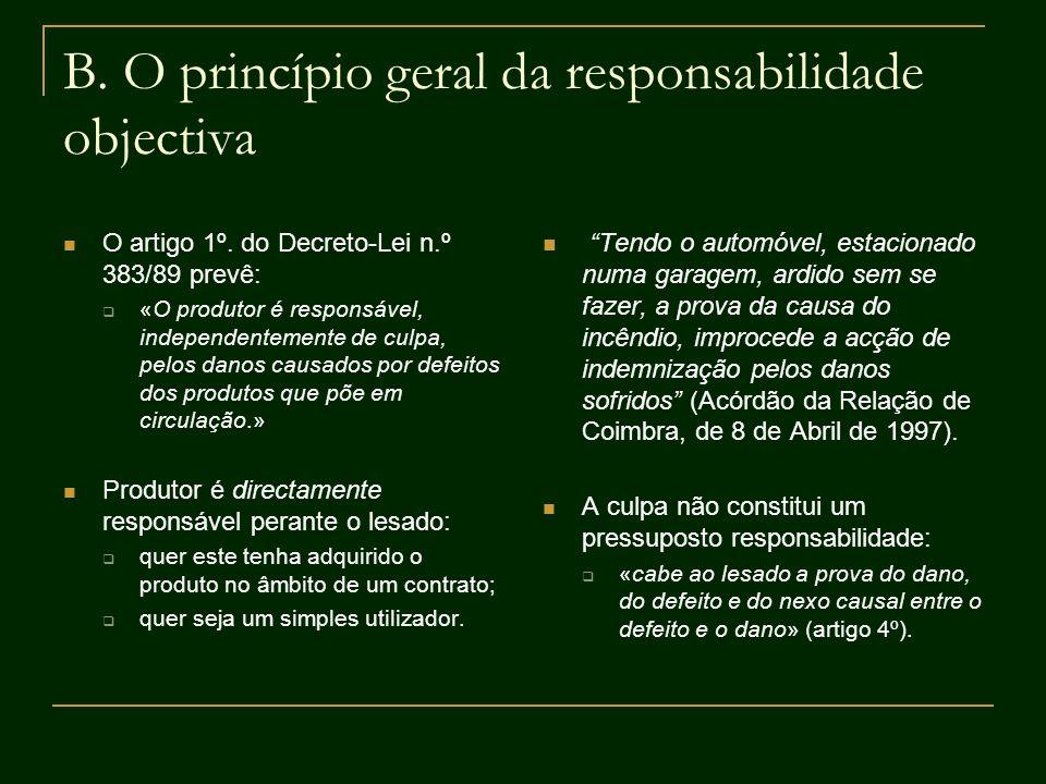B. O princípio geral da responsabilidade objectiva O artigo 1º. do Decreto-Lei n.º 383/89 prevê: «O produtor é responsável, independentemente de culpa