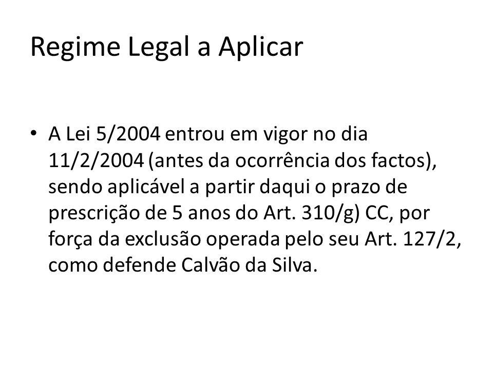 Regime Legal a Aplicar A Lei 5/2004 entrou em vigor no dia 11/2/2004 (antes da ocorrência dos factos), sendo aplicável a partir daqui o prazo de prescrição de 5 anos do Art.
