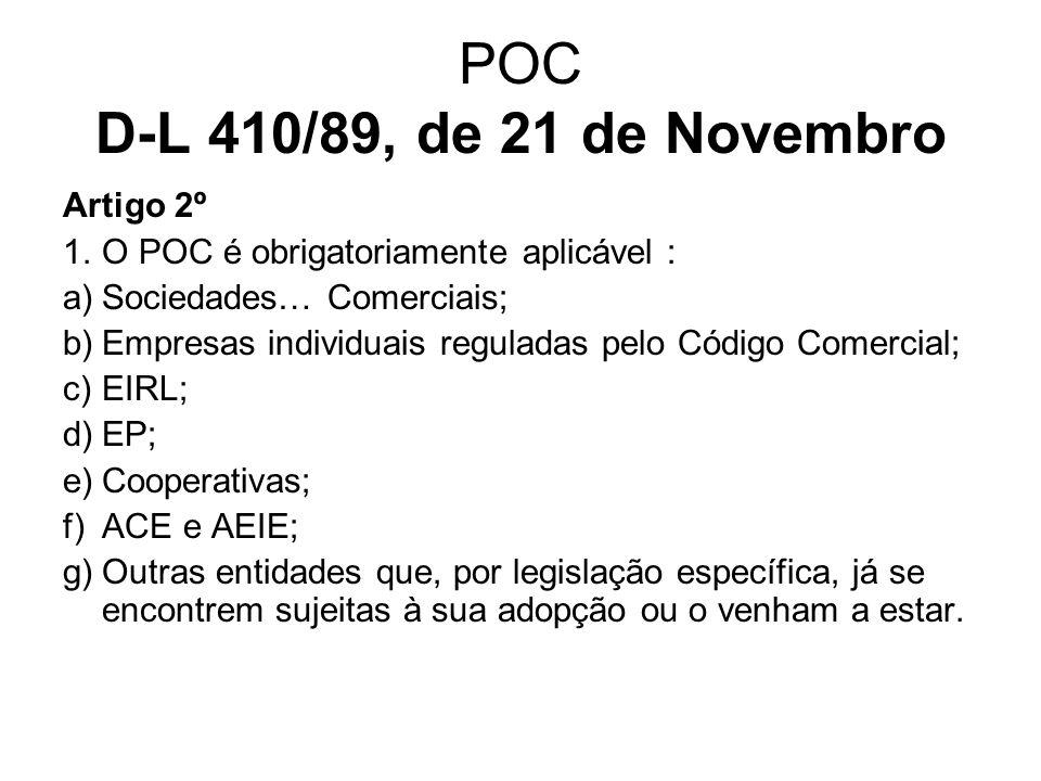POC D-L 410/89, de 21 de Novembro Artigo 2º 1.O POC é obrigatoriamente aplicável : a)Sociedades… Comerciais; b)Empresas individuais reguladas pelo Cód