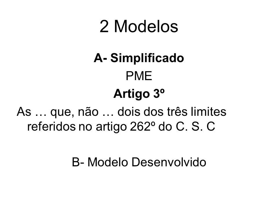 2 Modelos A- Simplificado PME Artigo 3º As … que, não … dois dos três limites referidos no artigo 262º do C. S. C B- Modelo Desenvolvido